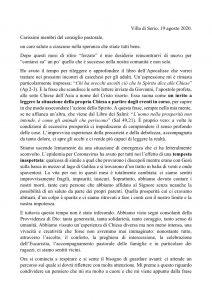 Convocazione Consiglio Pastorale – 31 agosto 2020