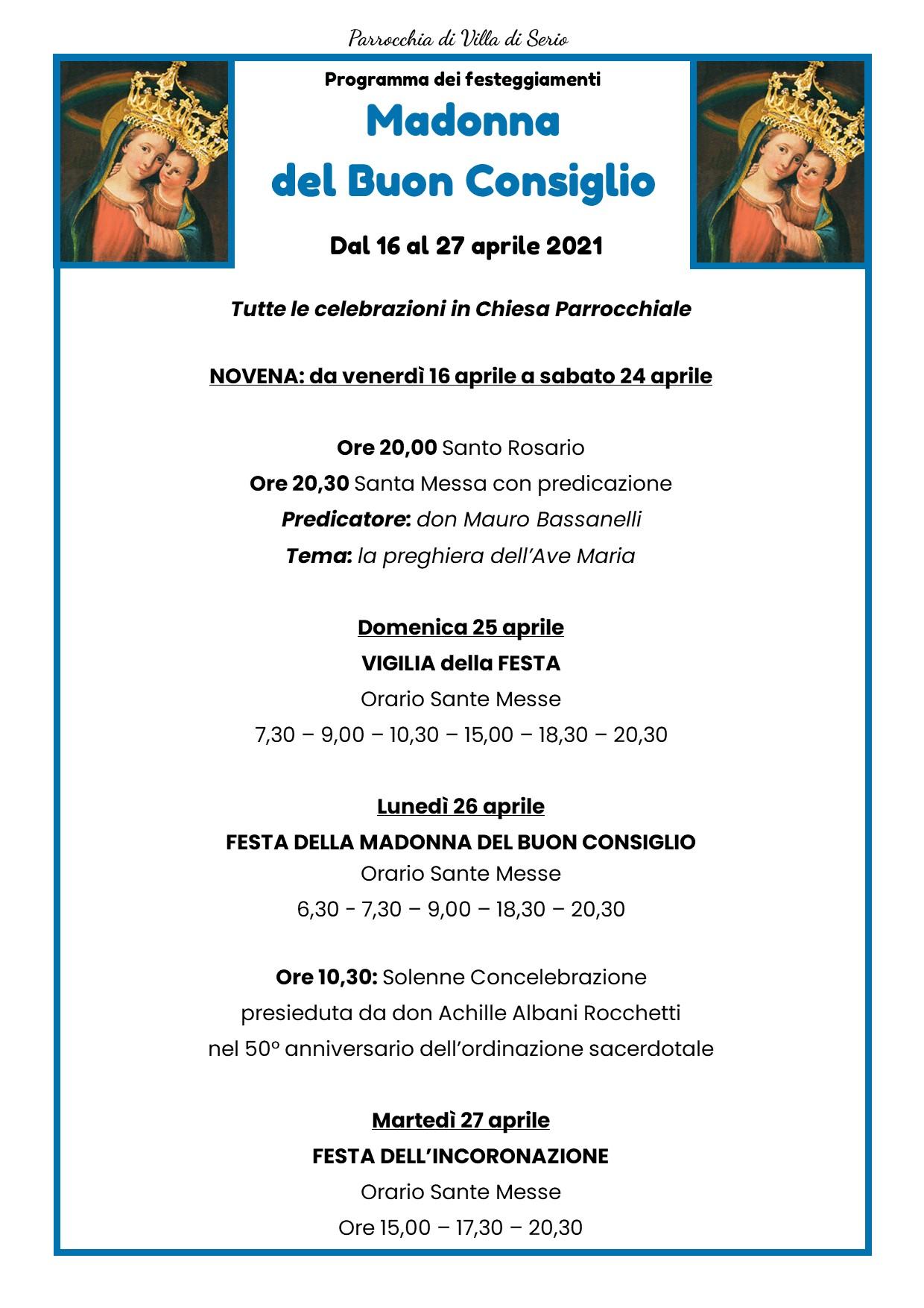 Programma Festa della Madonna 2021 villa di serio