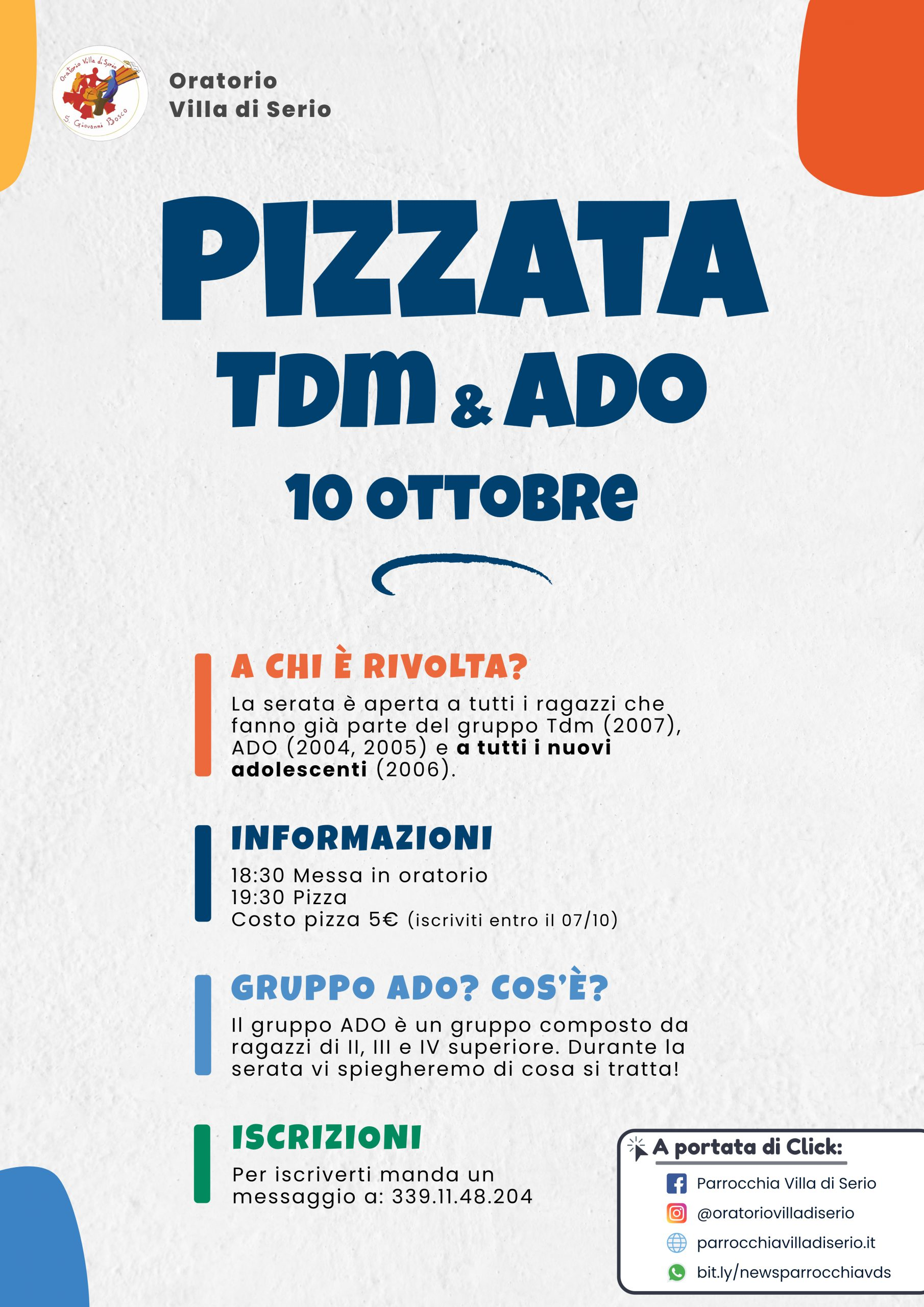 Pizzata ado-tdm 10 ottobre 2021